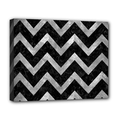 Chevron9 Black Marble & Gray Metal 2 Deluxe Canvas 20  X 16
