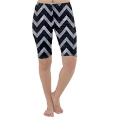 Chevron9 Black Marble & Gray Metal 2 Cropped Leggings