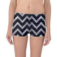 Chevron9 Black Marble & Gray Metal 2 Reversible Boyleg Bikini Bottoms