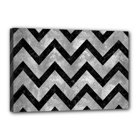 Chevron9 Black Marble & Gray Metal 2 (r) Canvas 18  X 12