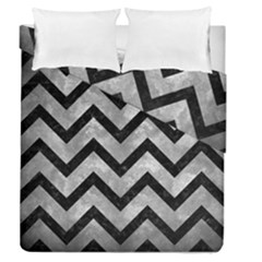 Chevron9 Black Marble & Gray Metal 2 (r) Duvet Cover Double Side (queen Size)