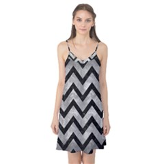 Chevron9 Black Marble & Gray Metal 2 (r) Camis Nightgown