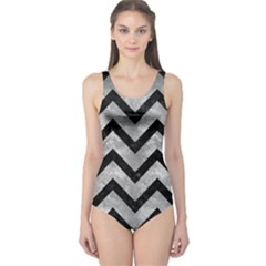 Chevron9 Black Marble & Gray Metal 2 (r) One Piece Swimsuit