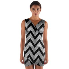 Chevron9 Black Marble & Gray Metal 2 (r) Wrap Front Bodycon Dress