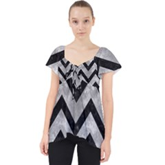 Chevron9 Black Marble & Gray Metal 2 (r) Lace Front Dolly Top