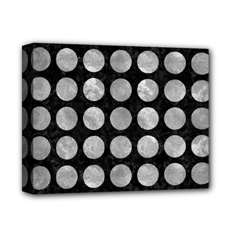 Circles1 Black Marble & Gray Metal 2 Deluxe Canvas 14  X 11