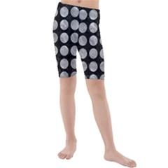 Circles1 Black Marble & Gray Metal 2 Kids  Mid Length Swim Shorts