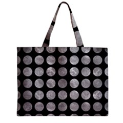 Circles1 Black Marble & Gray Metal 2 Zipper Mini Tote Bag