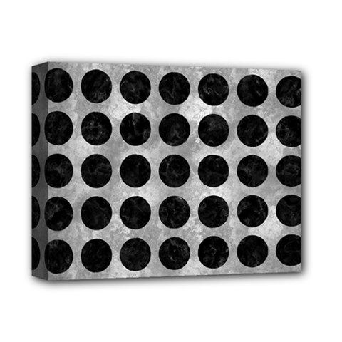 Circles1 Black Marble & Gray Metal 2 (r) Deluxe Canvas 14  X 11