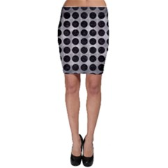 Circles1 Black Marble & Gray Metal 2 (r) Bodycon Skirt