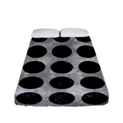Circles1 Black Marble & Gray Metal 2 (r) Fitted Sheet (full/ Double Size)