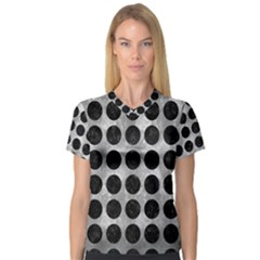 Circles1 Black Marble & Gray Metal 2 (r) V Neck Sport Mesh Tee