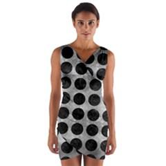 Circles1 Black Marble & Gray Metal 2 (r) Wrap Front Bodycon Dress