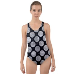 Circles2 Black Marble & Gray Metal 2 Cut Out Back One Piece Swimsuit