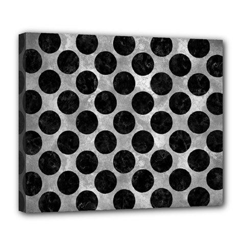 Circles2 Black Marble & Gray Metal 2 (r) Deluxe Canvas 24  X 20