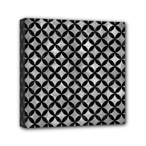 Circles3 Black Marble & Gray Metal 2 (r) Mini Canvas 6  X 6