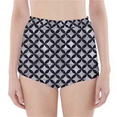 Circles3 Black Marble & Gray Metal 2 (r) High Waisted Bikini Bottoms