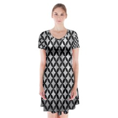Circles3 Black Marble & Gray Metal 2 (r) Short Sleeve V Neck Flare Dress