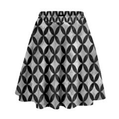 Circles3 Black Marble & Gray Metal 2 (r) High Waist Skirt