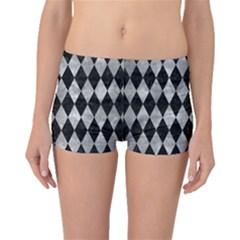 Diamond1 Black Marble & Gray Metal 2 Boyleg Bikini Bottoms
