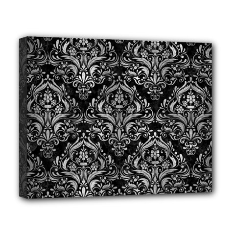 Damask1 Black Marble & Gray Metal 2 Deluxe Canvas 20  X 16