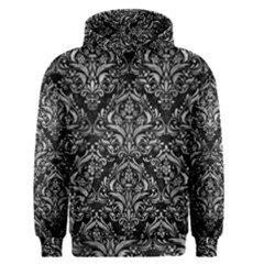 Damask1 Black Marble & Gray Metal 2 Men s Pullover Hoodie