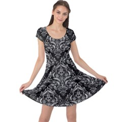 Damask1 Black Marble & Gray Metal 2 Cap Sleeve Dress