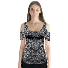 Damask1 Black Marble & Gray Metal 2 Butterfly Sleeve Cutout Tee