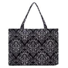 Damask1 Black Marble & Gray Metal 2 Zipper Medium Tote Bag