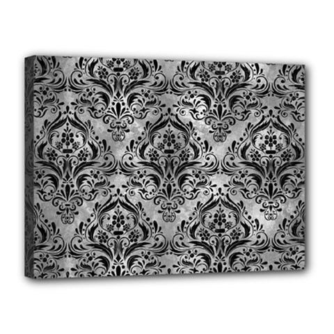Damask1 Black Marble & Gray Metal 2 (r) Canvas 16  X 12