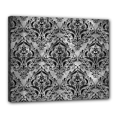 Damask1 Black Marble & Gray Metal 2 (r) Canvas 20  X 16