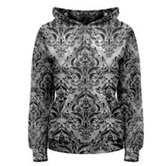 Damask1 Black Marble & Gray Metal 2 (r) Women s Pullover Hoodie