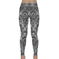 Damask1 Black Marble & Gray Metal 2 (r) Classic Yoga Leggings
