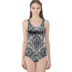 Damask1 Black Marble & Gray Metal 2 (r) One Piece Swimsuit