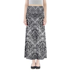 Damask1 Black Marble & Gray Metal 2 (r) Full Length Maxi Skirt