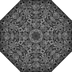 Damask2 Black Marble & Gray Metal 2 Folding Umbrellas