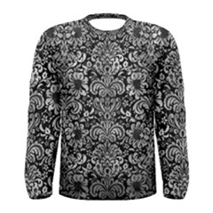 Damask2 Black Marble & Gray Metal 2 Men s Long Sleeve Tee