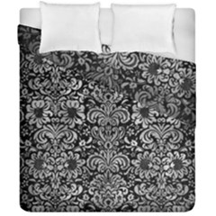 Damask2 Black Marble & Gray Metal 2 Duvet Cover Double Side (california King Size)