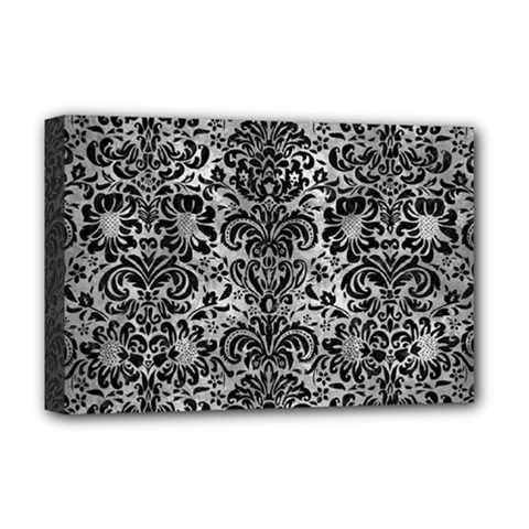 Damask2 Black Marble & Gray Metal 2 (r) Deluxe Canvas 18  X 12