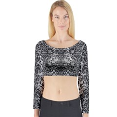 Damask2 Black Marble & Gray Metal 2 (r) Long Sleeve Crop Top
