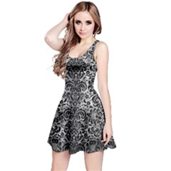 Damask2 Black Marble & Gray Metal 2 (r) Reversible Sleeveless Dress