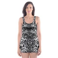 Damask2 Black Marble & Gray Metal 2 (r) Skater Dress Swimsuit