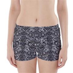 Damask2 Black Marble & Gray Metal 2 (r) Boyleg Bikini Wrap Bottoms