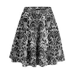 Damask2 Black Marble & Gray Metal 2 (r) High Waist Skirt