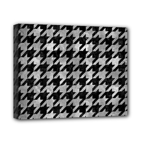 Houndstooth1 Black Marble & Gray Metal 2 Canvas 10  X 8