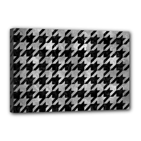 Houndstooth1 Black Marble & Gray Metal 2 Canvas 18  X 12