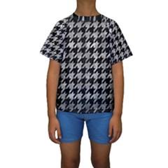 Houndstooth1 Black Marble & Gray Metal 2 Kids  Short Sleeve Swimwear