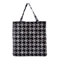 Houndstooth1 Black Marble & Gray Metal 2 Grocery Tote Bag