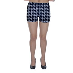 Houndstooth1 Black Marble & Gray Metal 2 Skinny Shorts