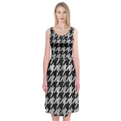 Houndstooth1 Black Marble & Gray Metal 2 Midi Sleeveless Dress